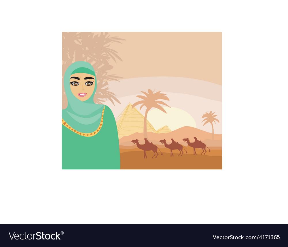 Arabian woman in the desert vector image