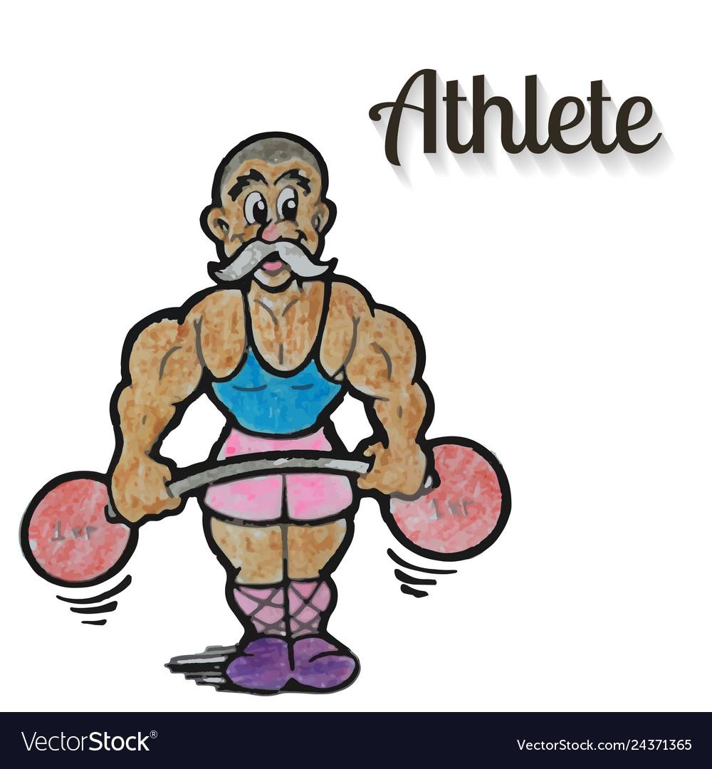 Cartoon weight lifter athlete