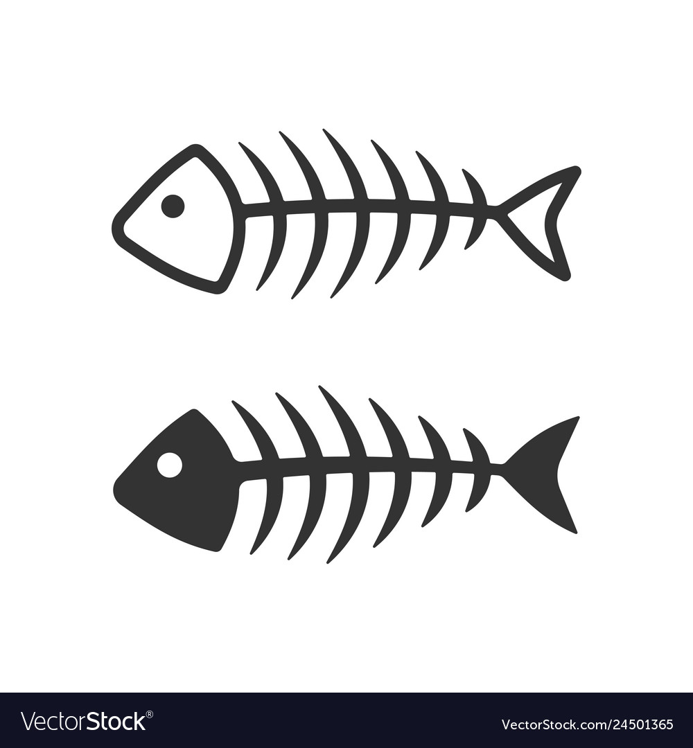 Fish bone icons filled and lined style