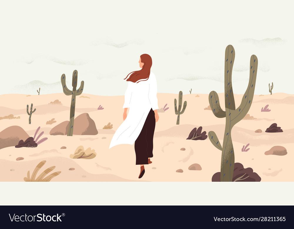 Girl in desert flat single