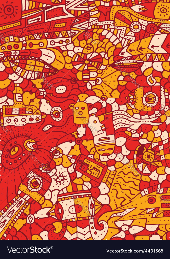Hand drawn red pattern with different object