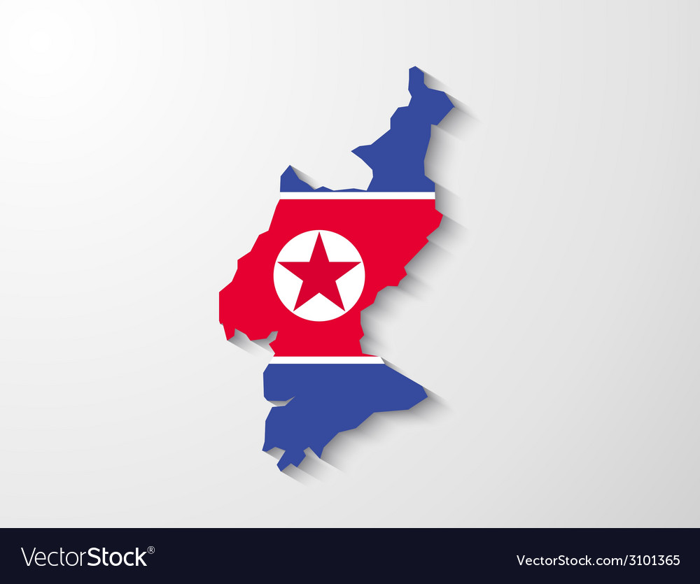 North korea country map with shadow effect