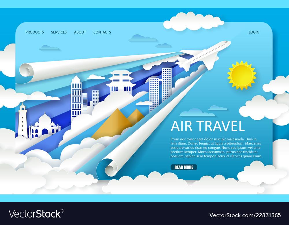 Paper cut air travel landing page website