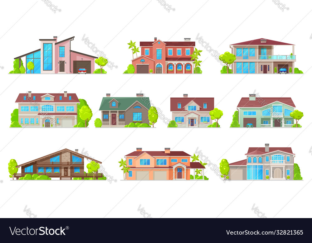 Real estate house icons isolated home buildings