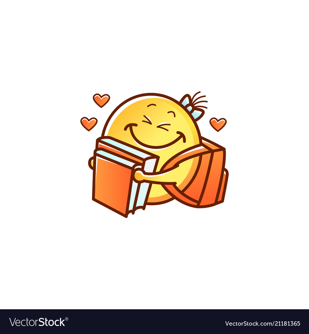 Smiley Face Schoolgirl With Backpack Hugging Books
