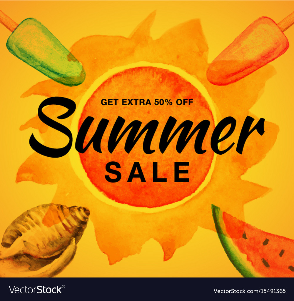 Summer sale banner with watercolor sun ice cream vector image
