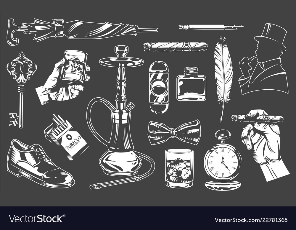 9c81959765c0d1 Vintage gentleman elements collection Royalty Free Vector