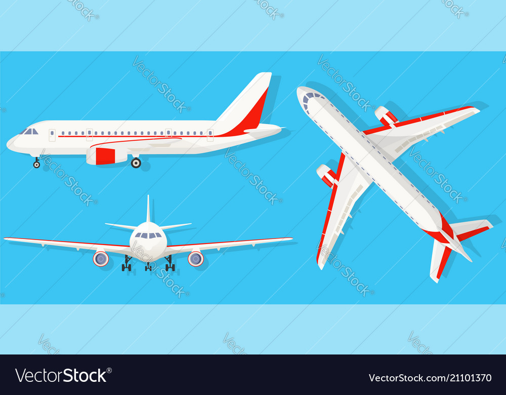 Airplane on blue background in different point of