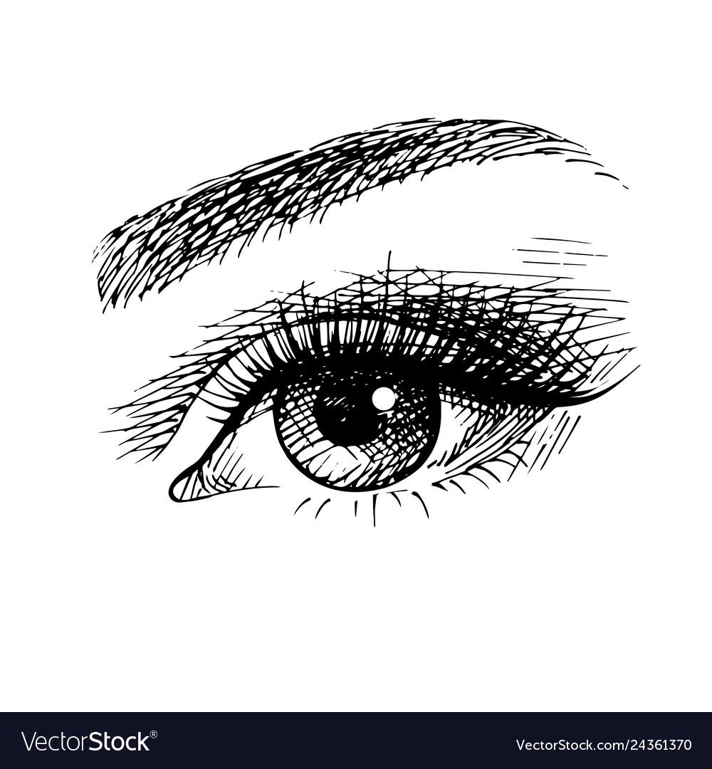 Beautiful female eye sketch