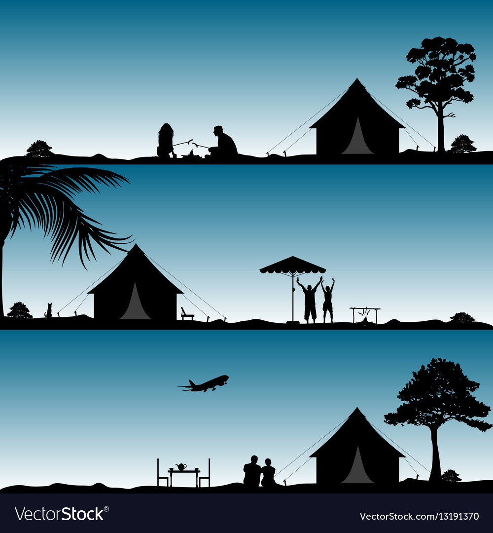 Camping in nature people silhouette set