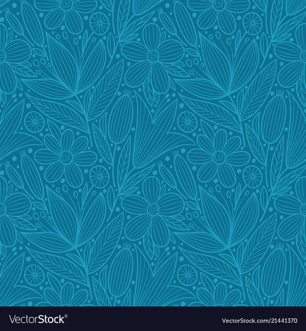Decorative floral seamless pattern hand drawn