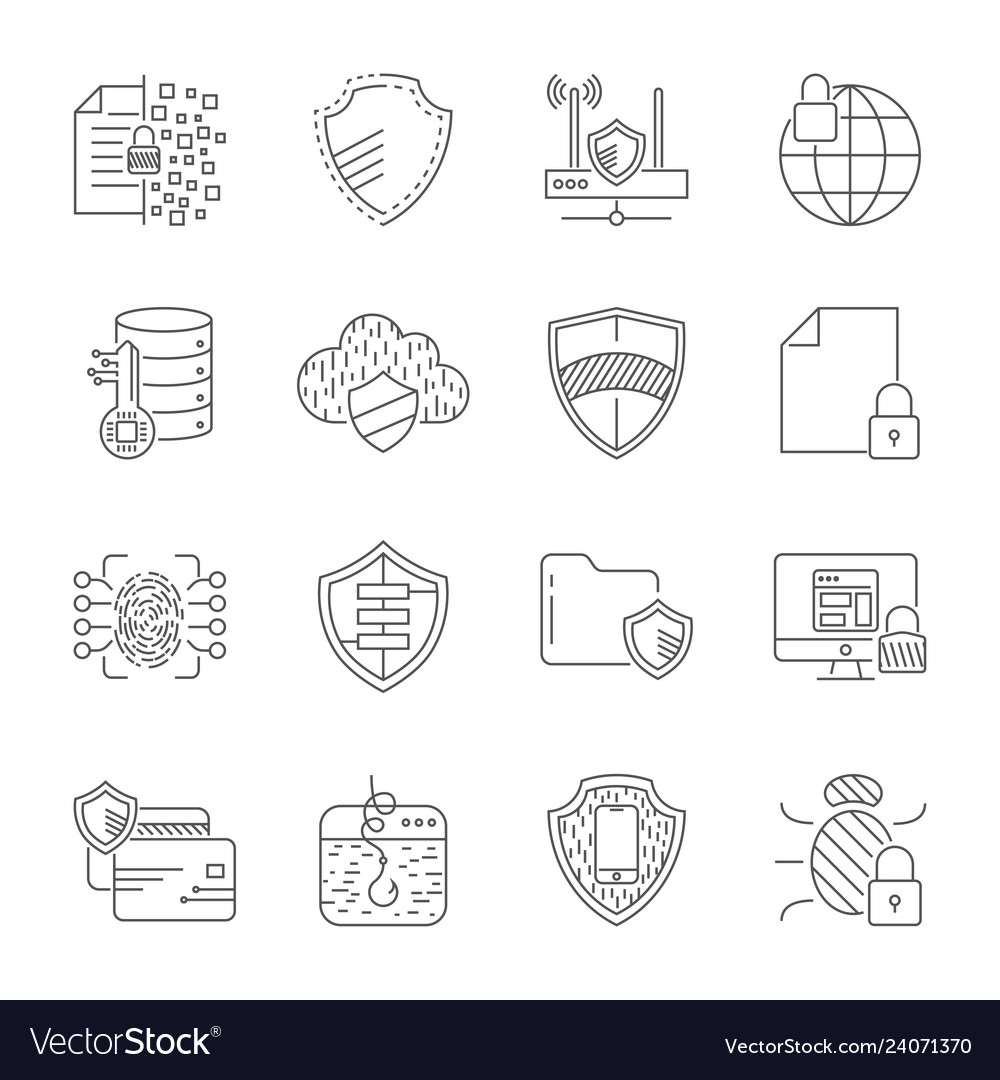 Gdpr privacy policy icon set included the icons