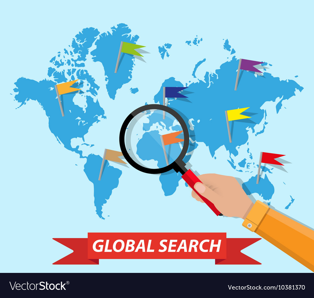 Search World Map.Global Search World Map Hand Magnifying Glass Vector Image