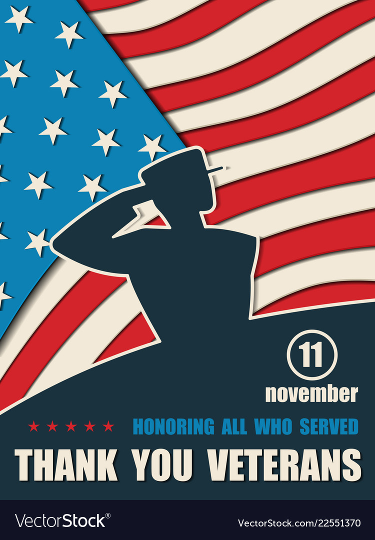 d0ff5444b601 Happy veterans day greeting card with usa flag Vector Image