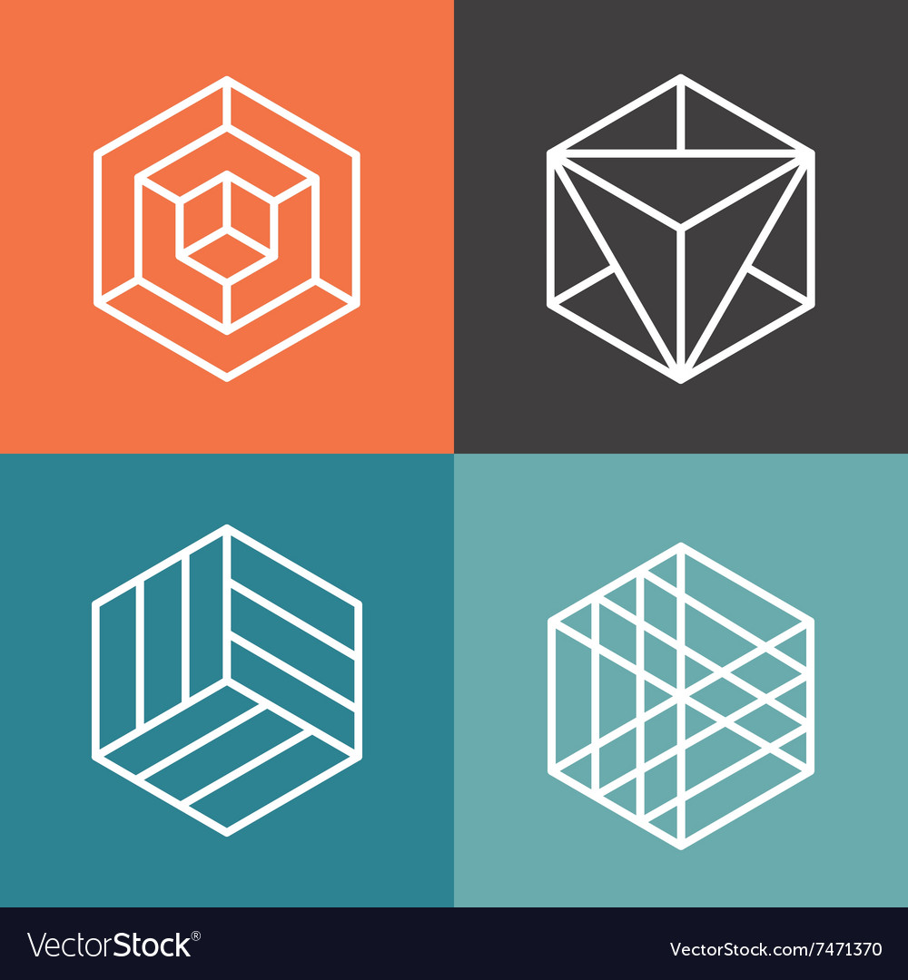 Hexagon logos in outline linear style Royalty Free Vector