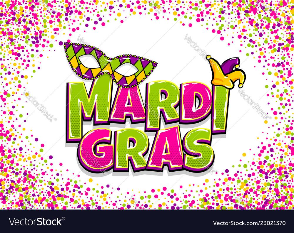 Mardi gras comic text pop art
