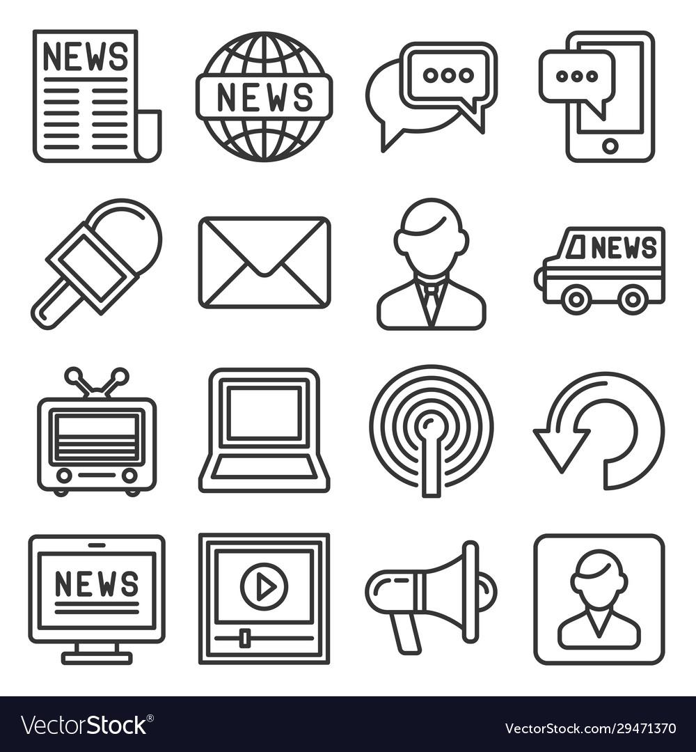 News media icons set on white background line