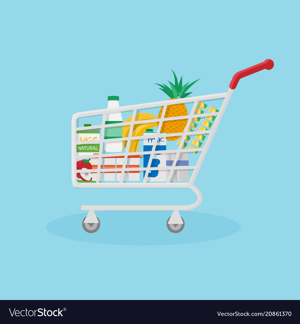Red shopping basket filled with useful natural