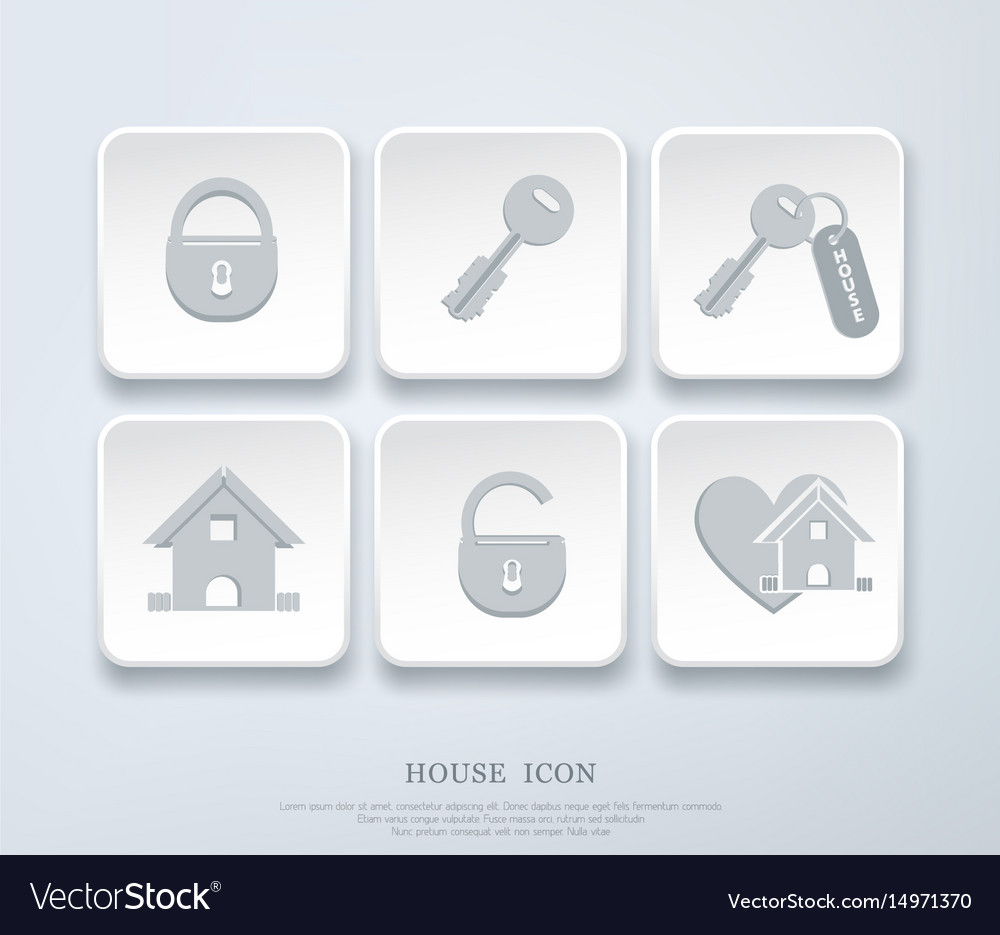 Set of icons with small house key open closed vector image