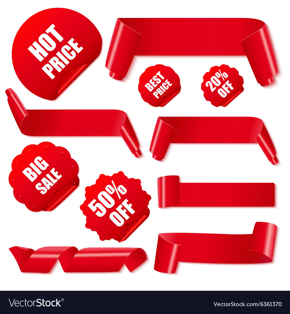 Set of realistic red paper ribbons and discount
