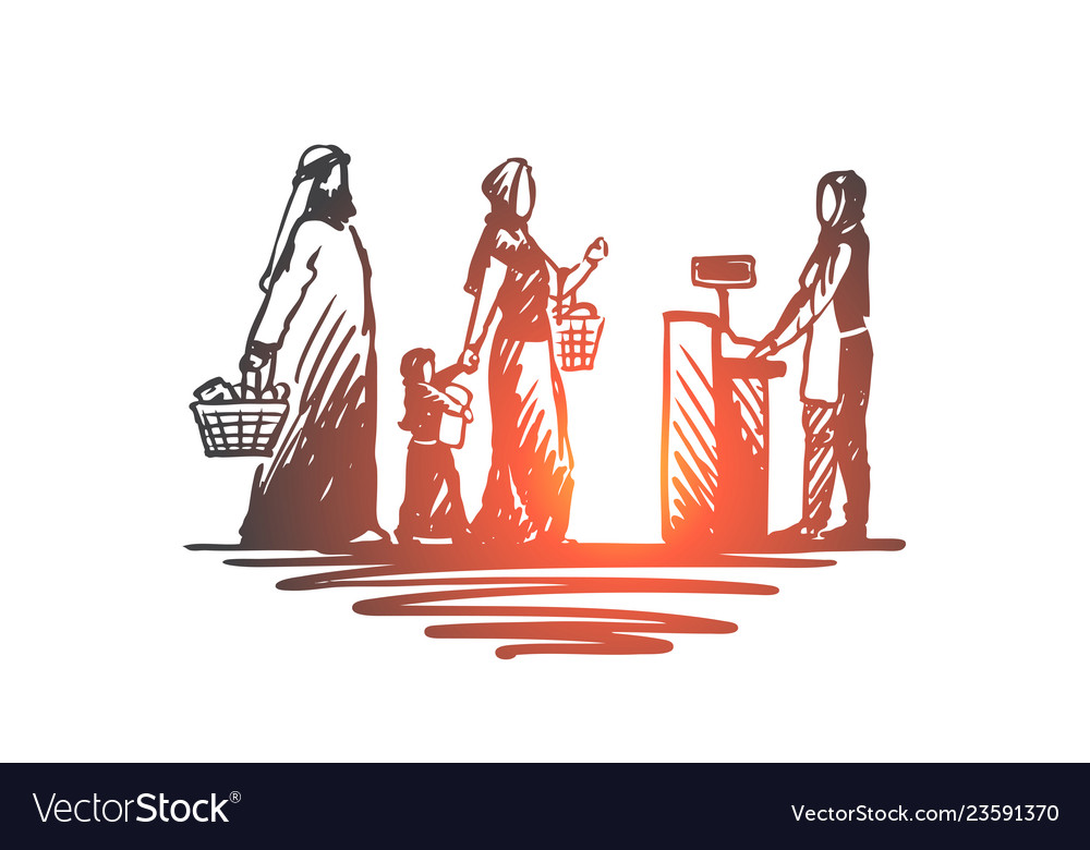 Shopping purchases muslim family concept hand
