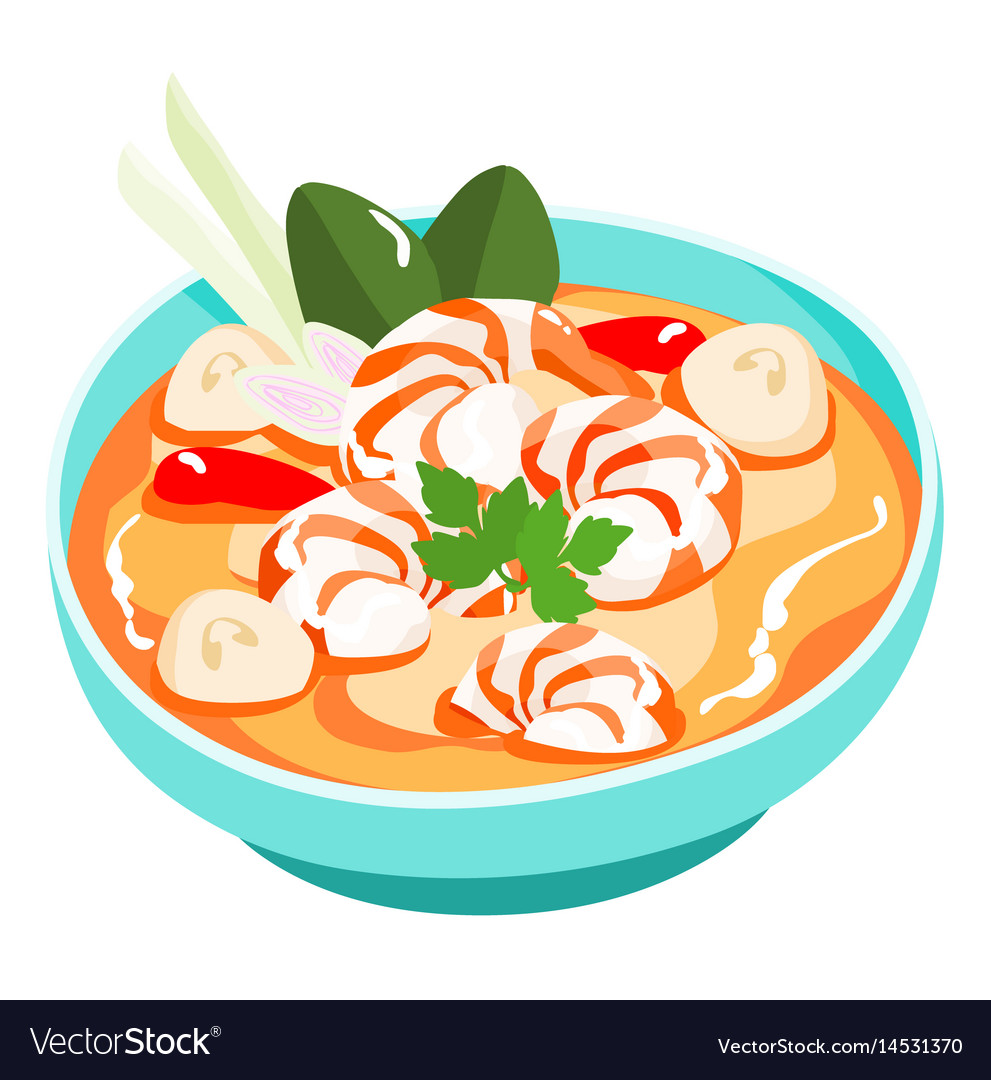 Tom yum kung thai spicy soup vector image
