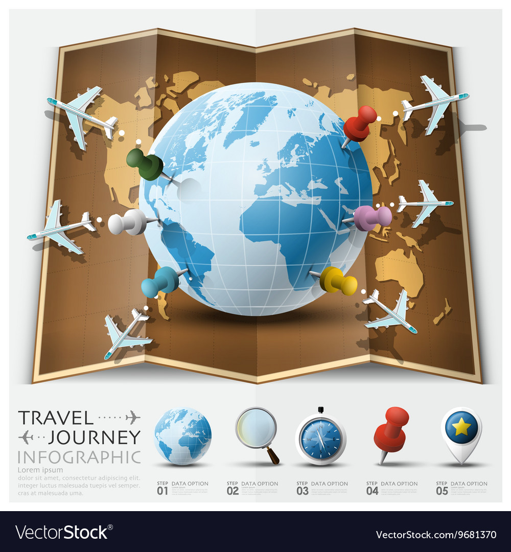 Travel And Journey World Map With Point Mark Vector Image - World map to mark travels