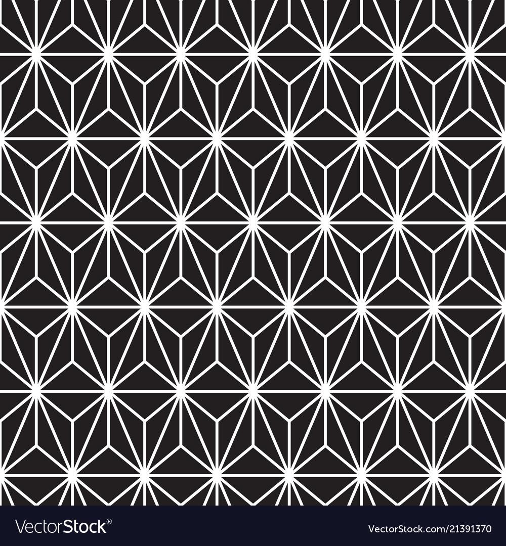 White triangle line pattern on black seamless