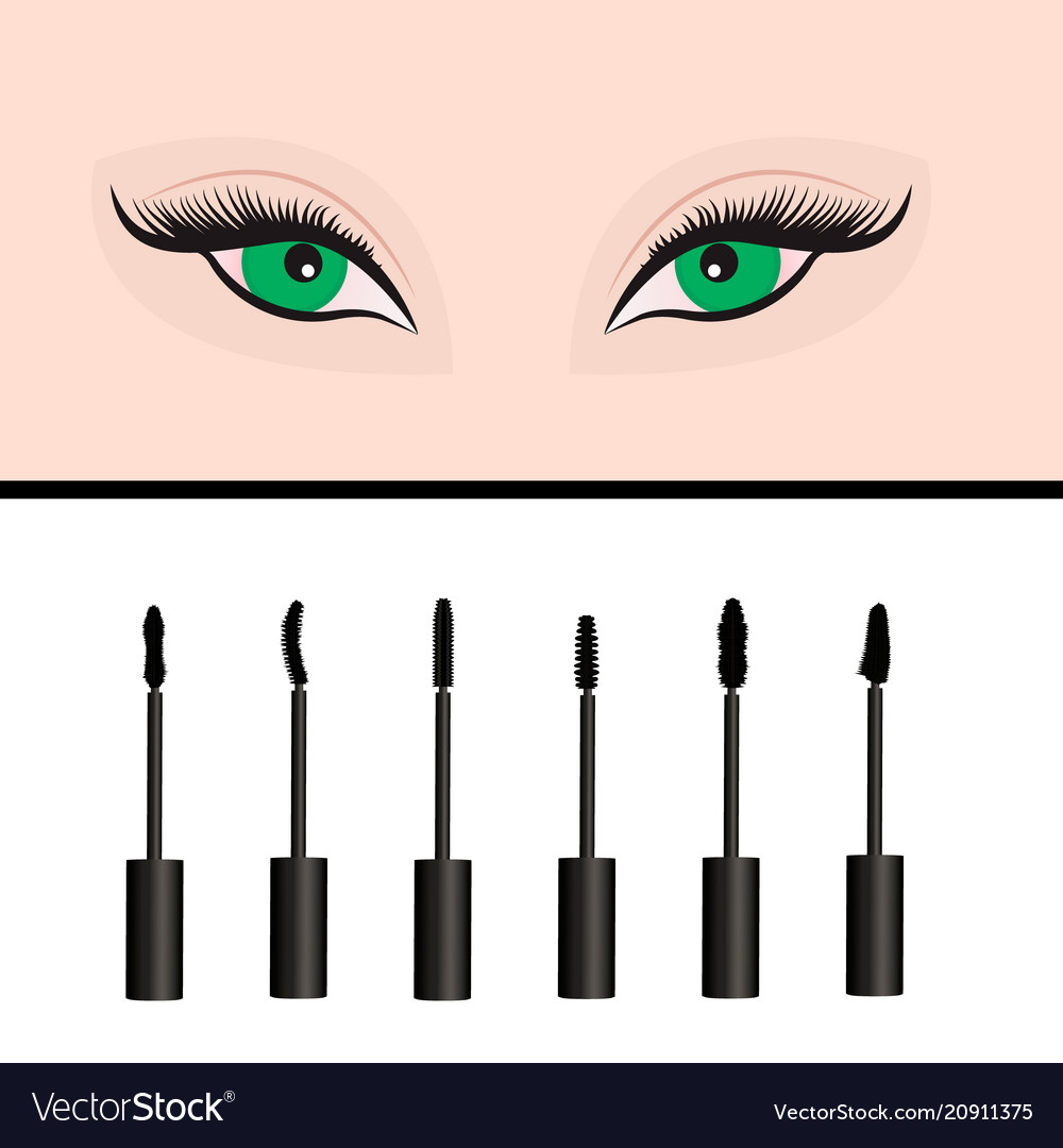 A Girls Eyes And Types Of Mascara Royalty Free Vector Image