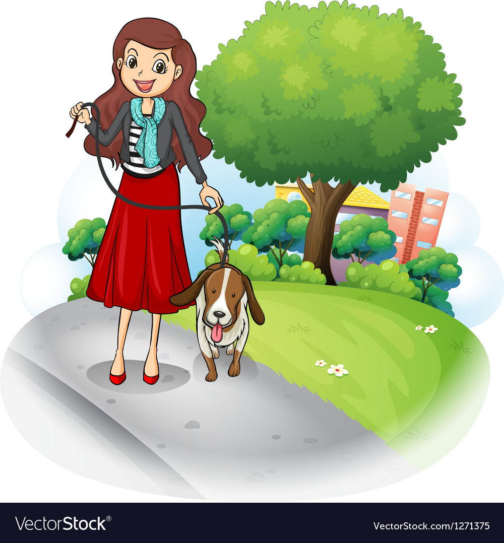 A woman with her dog at the road