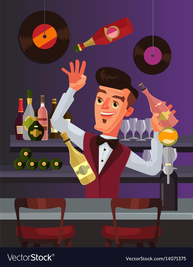 Barmen character juggles bottles