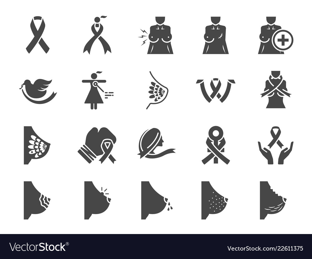 Breast cancer sign icon set