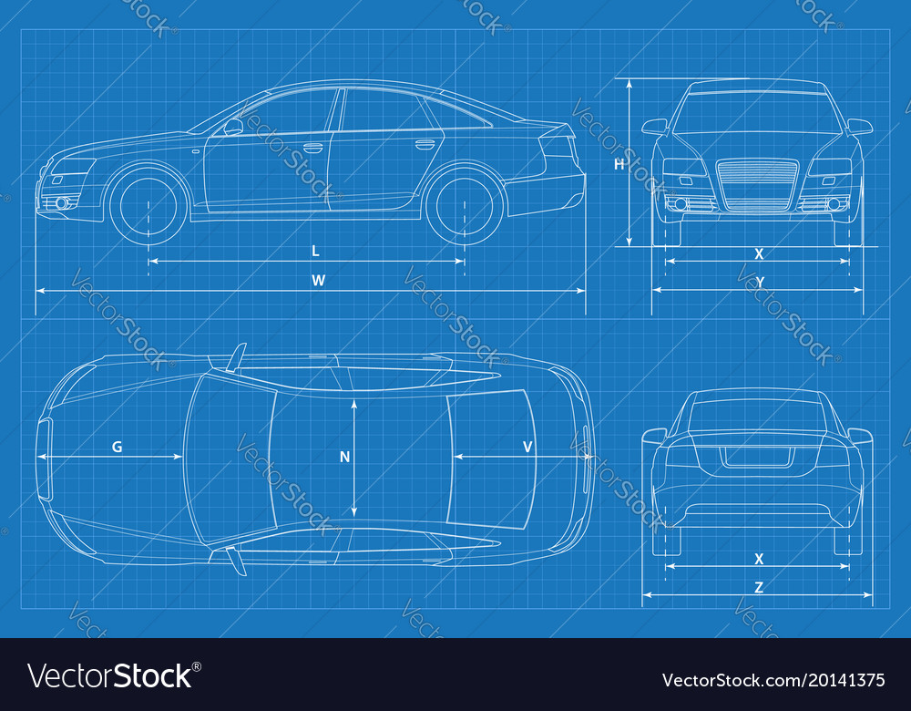 Car Schematic Or Car Blueprint Vector Image