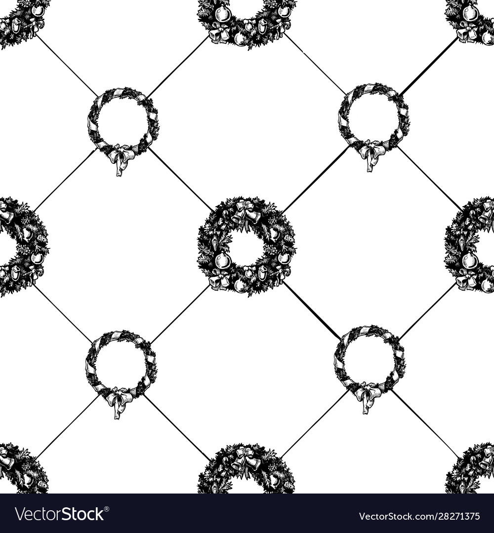 Christmas wreath seamless pattern vector