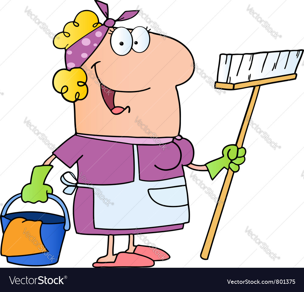 Cleaning lady cartoon character vector image