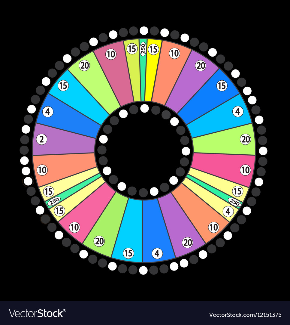 Colour Wheel of Fortune Game Jackpot on Black