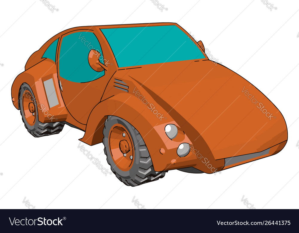 Cool red car on white background