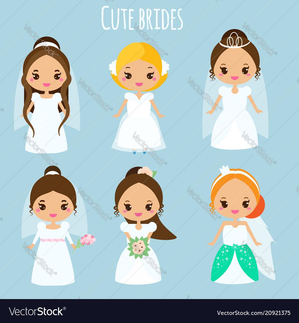 Cute cartoon brides princess in wedding dresses
