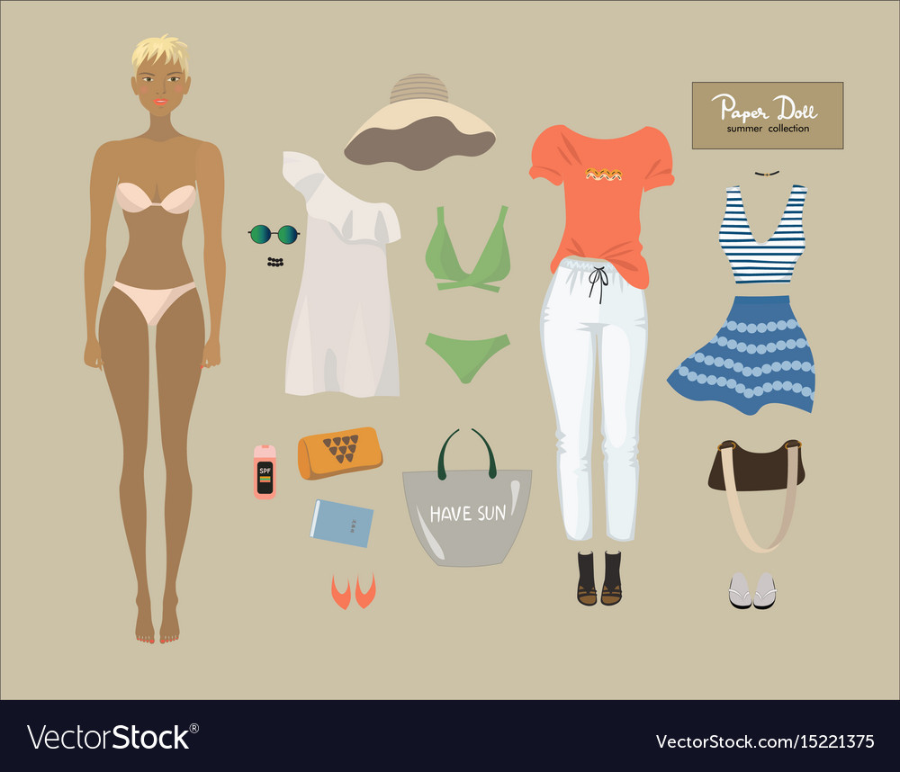 Dress up paper doll female body template summer vector image