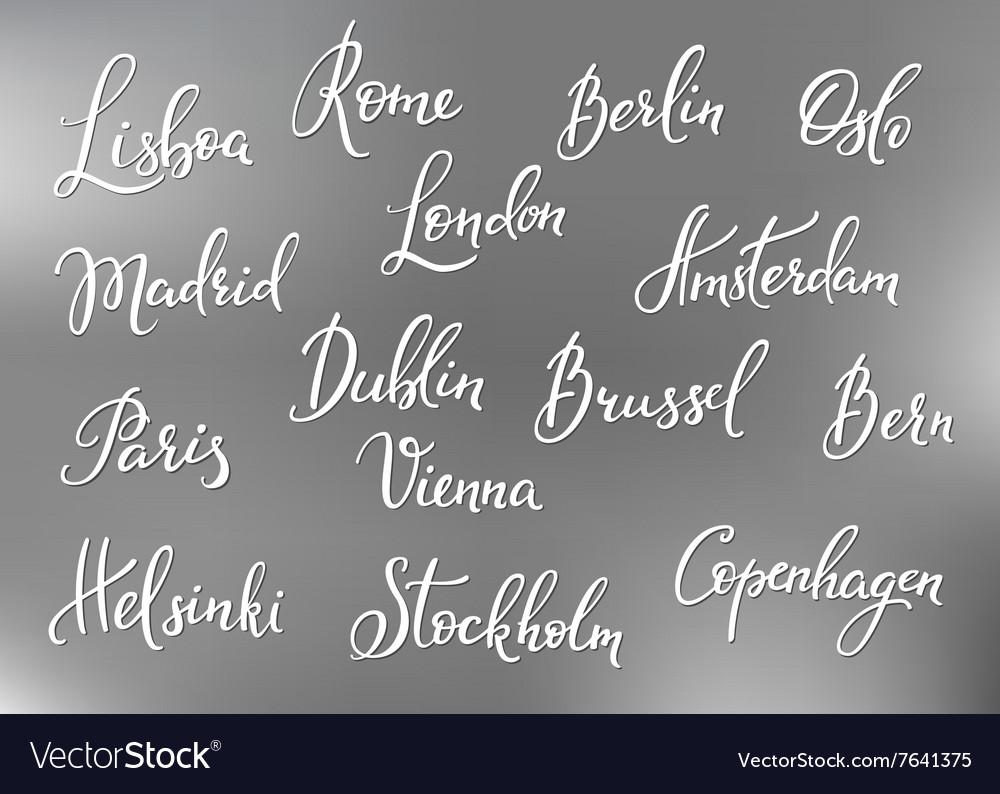 Europe capitals names set