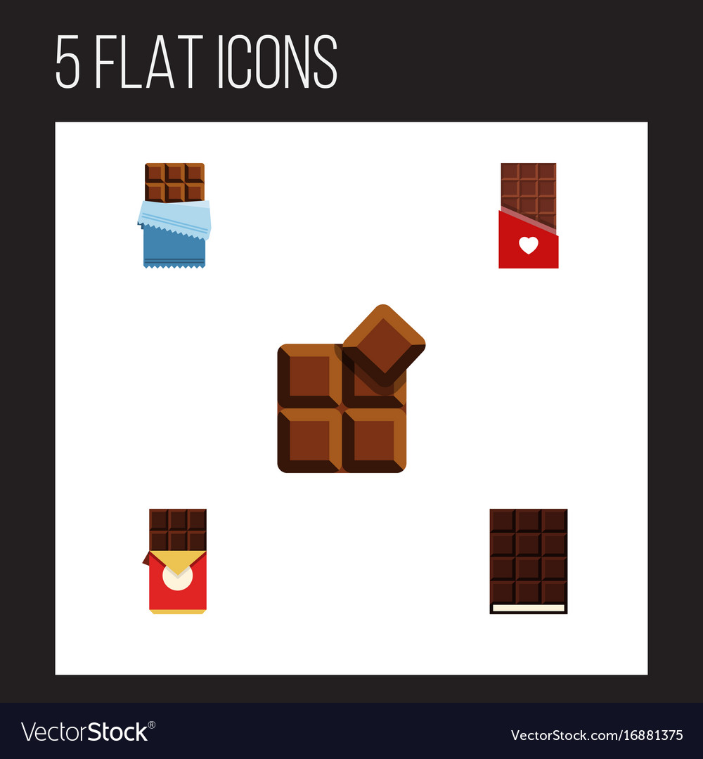 Flat icon sweet set of dessert cocoa chocolate