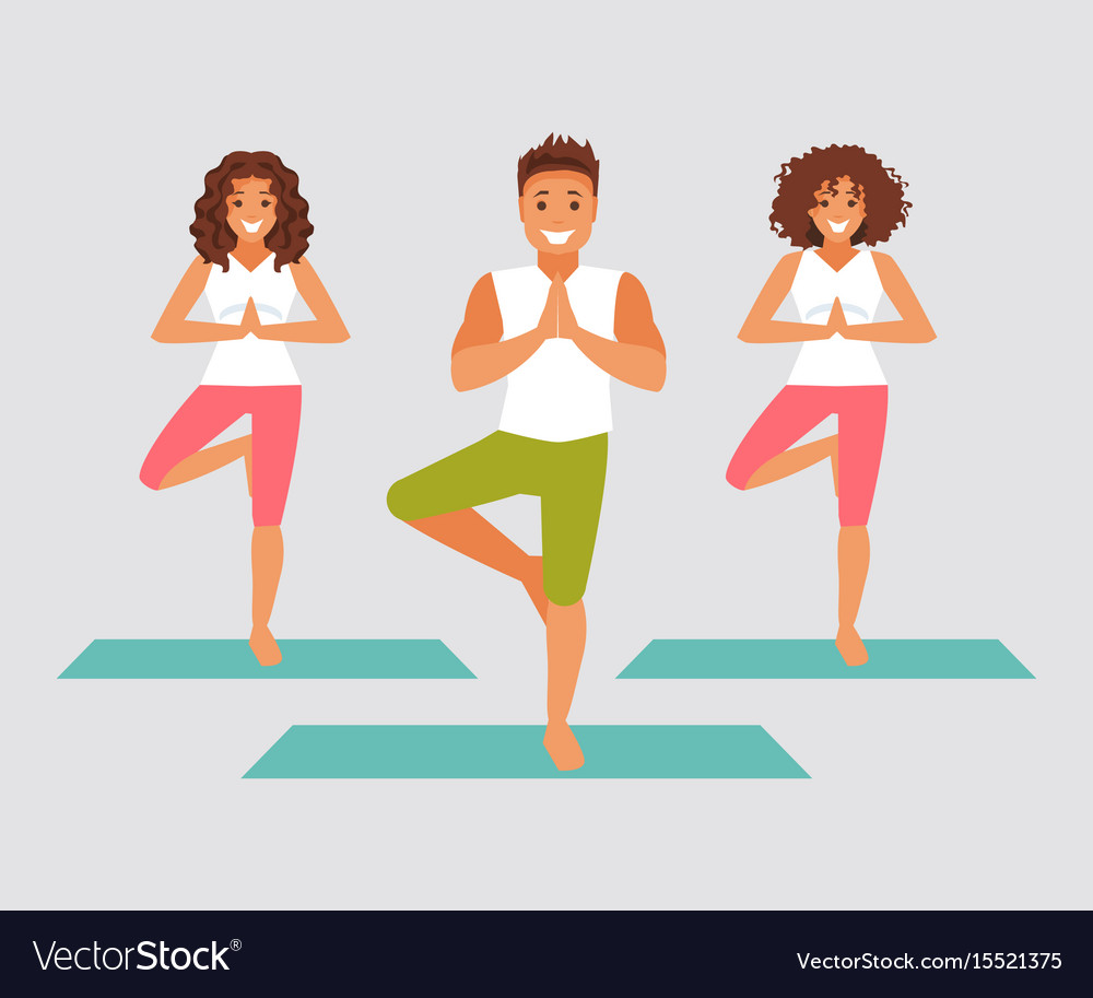 Group Yoga Vector Image