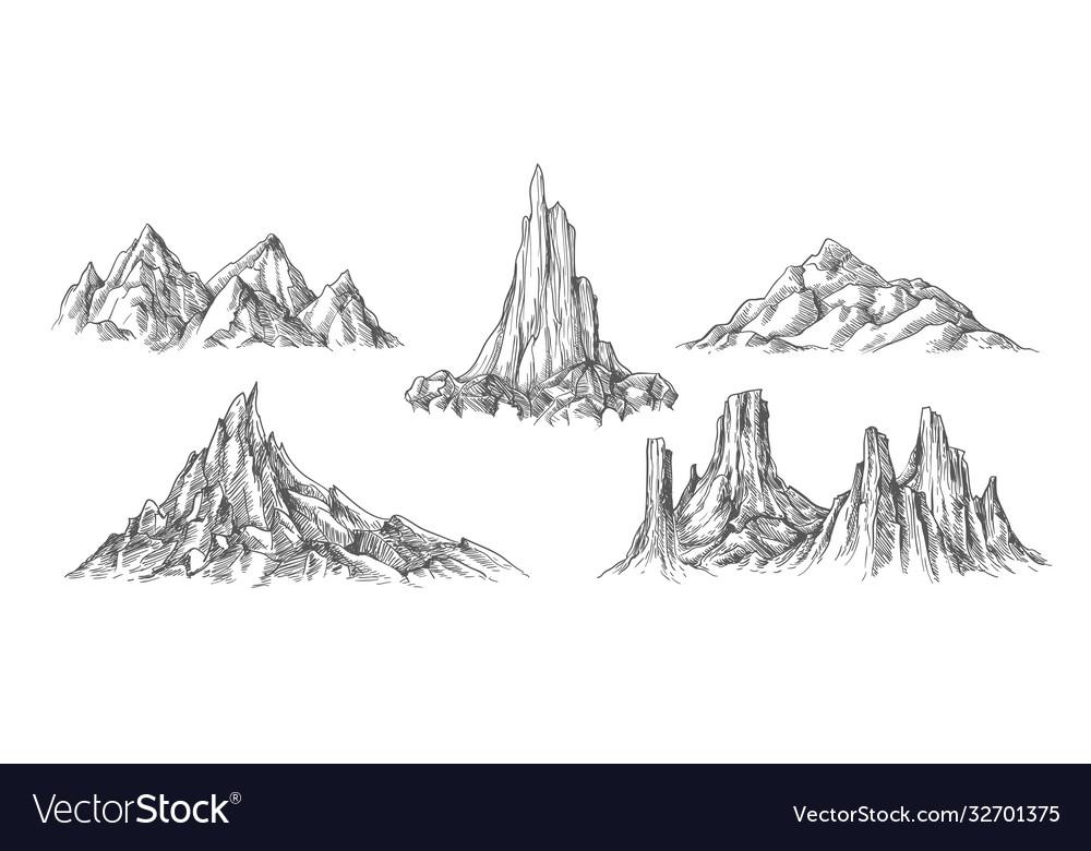 Hand drawn mountains landscape