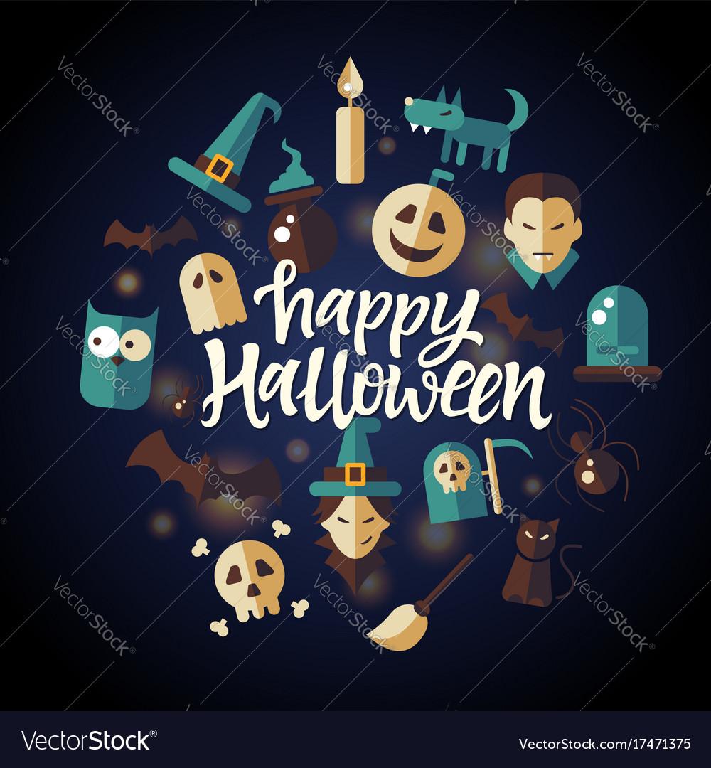Happy halloween - celebration poster on seamless