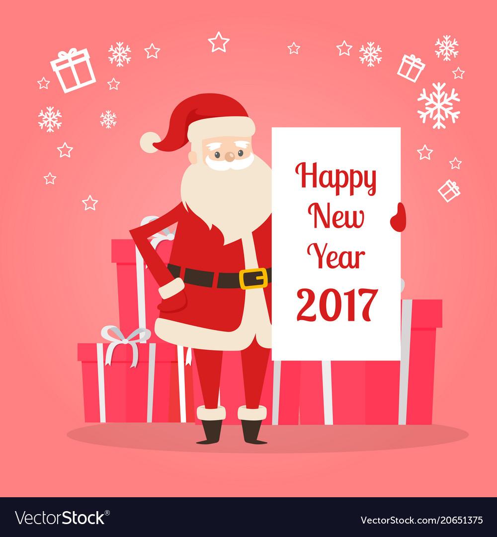 Happy New Year 2017 Banner In Santas Hand Vector Image