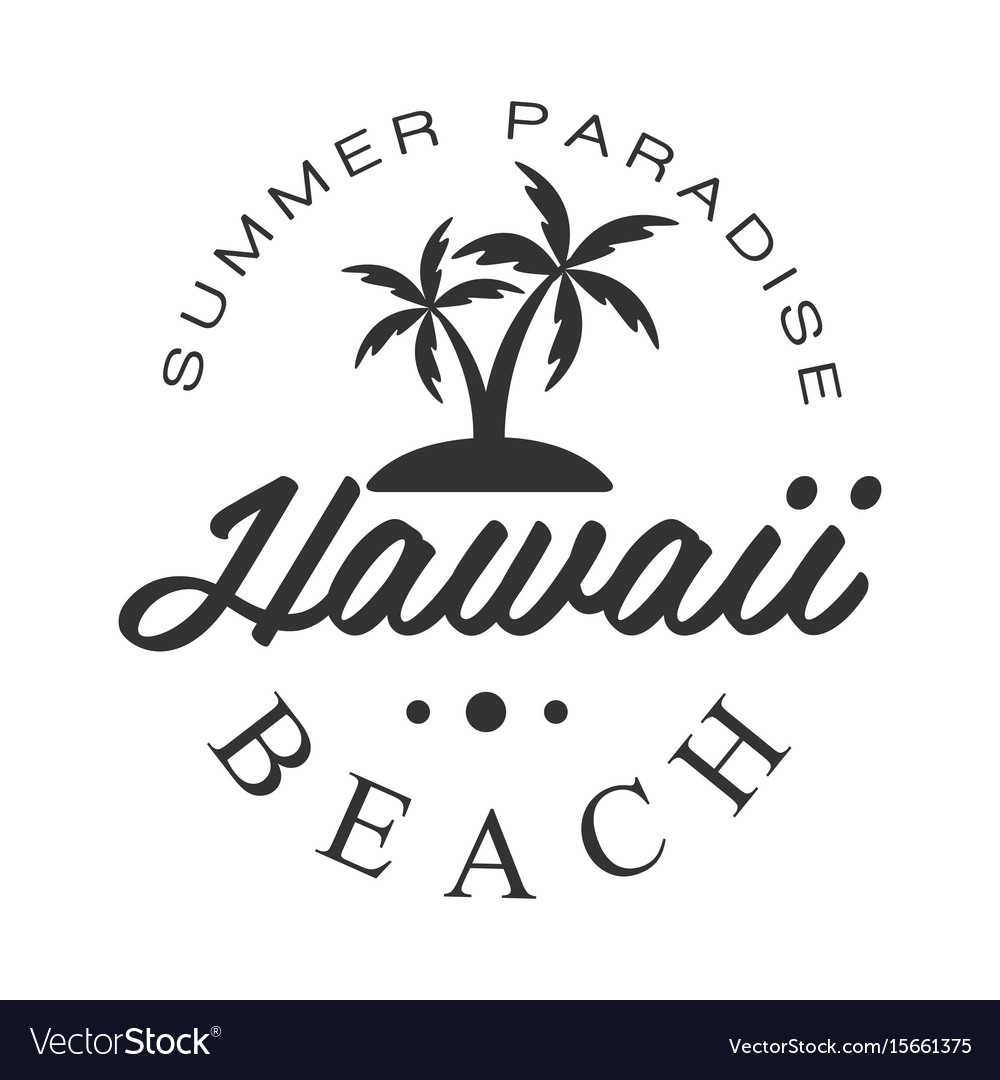 Hawaii beach summer paradise logo template black