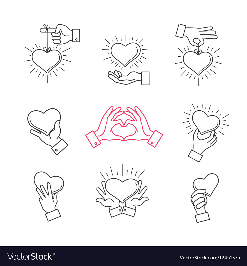 Lined hand love signs hands making heart shape
