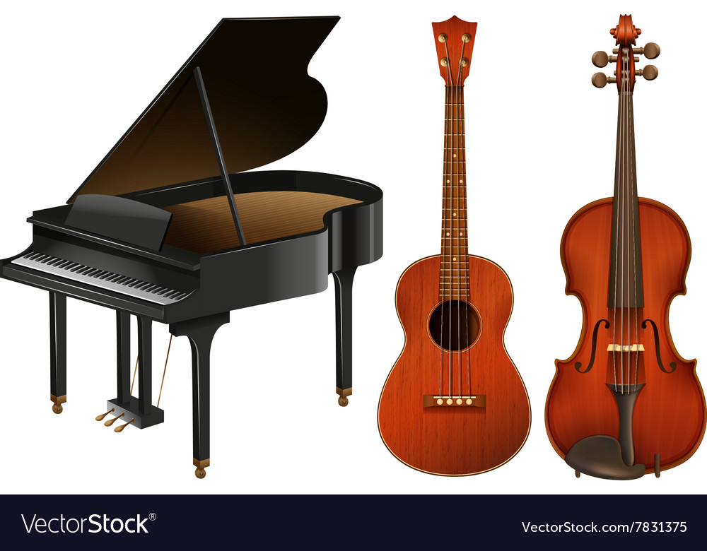 Musical instruments with piano and guitar