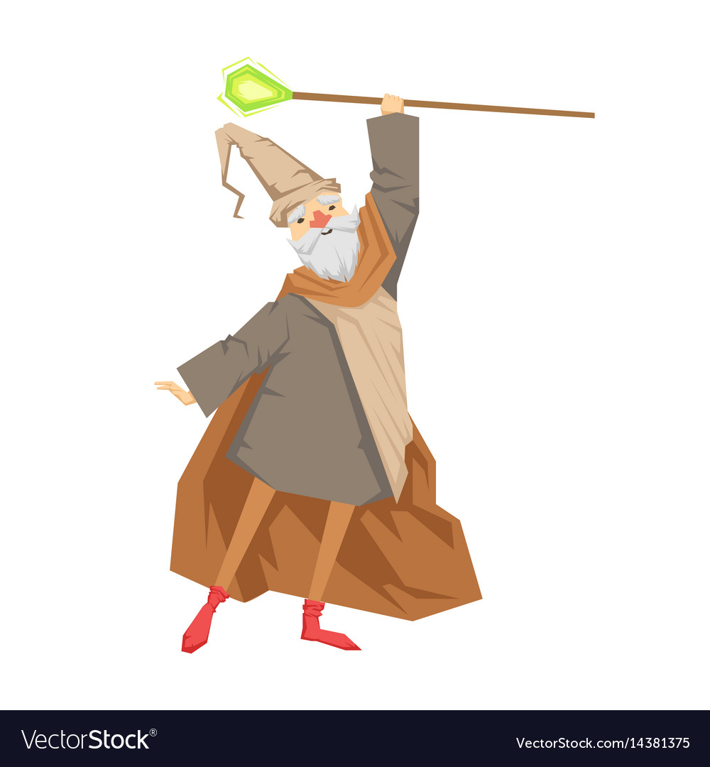 Old wizard with magic staff colorful fairy tale