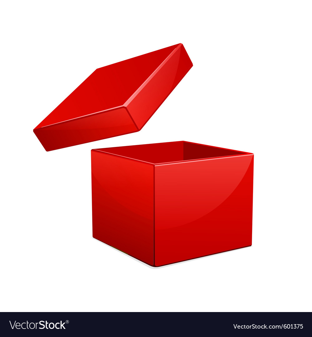 Open red gift box vector image
